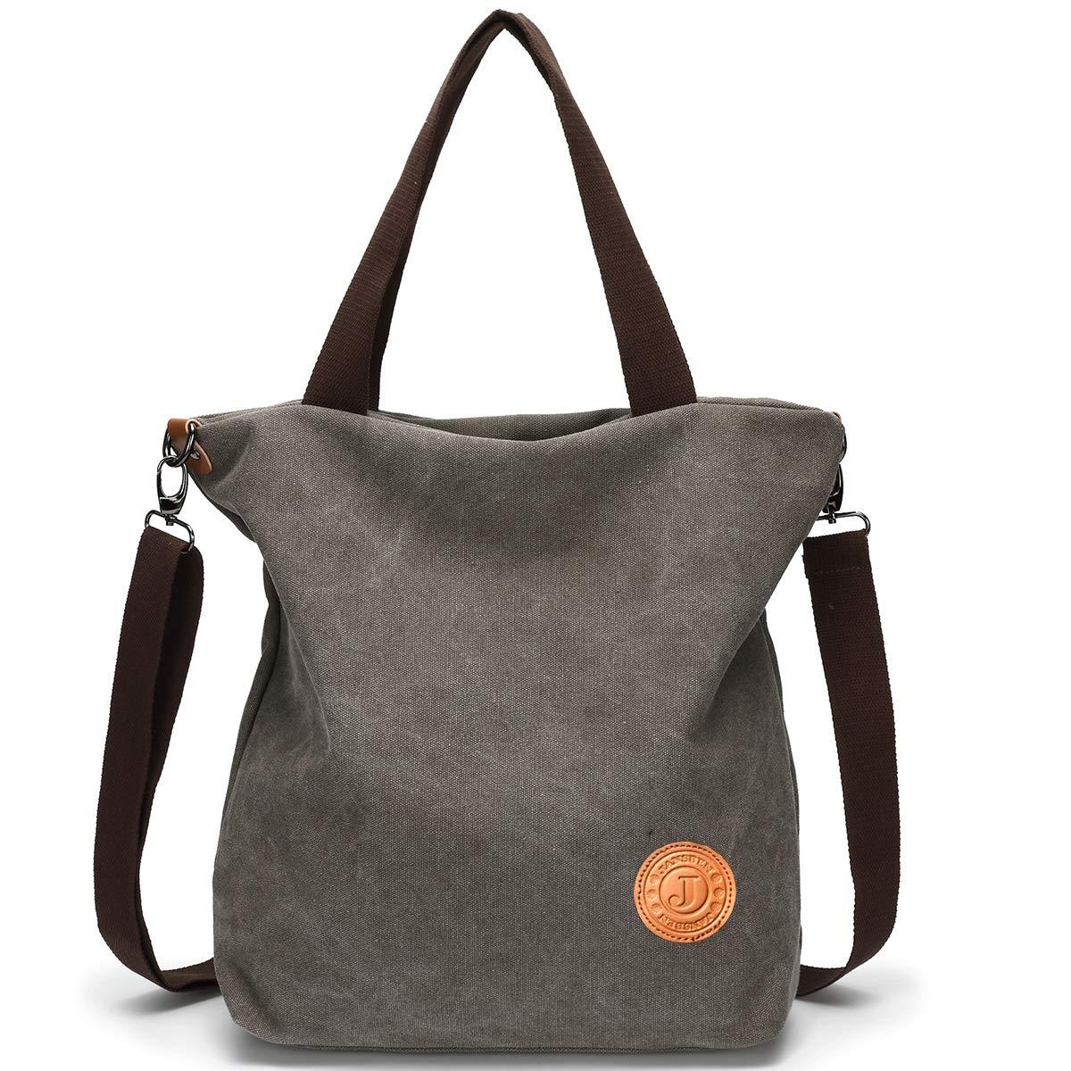 9181da5c0d476 JANSBEN Damen Canvas Handtasche Schultertasche Casual Multifunktionale  Umhängetaschen Große für Arbeit Schule Shopper Lässige täglich (