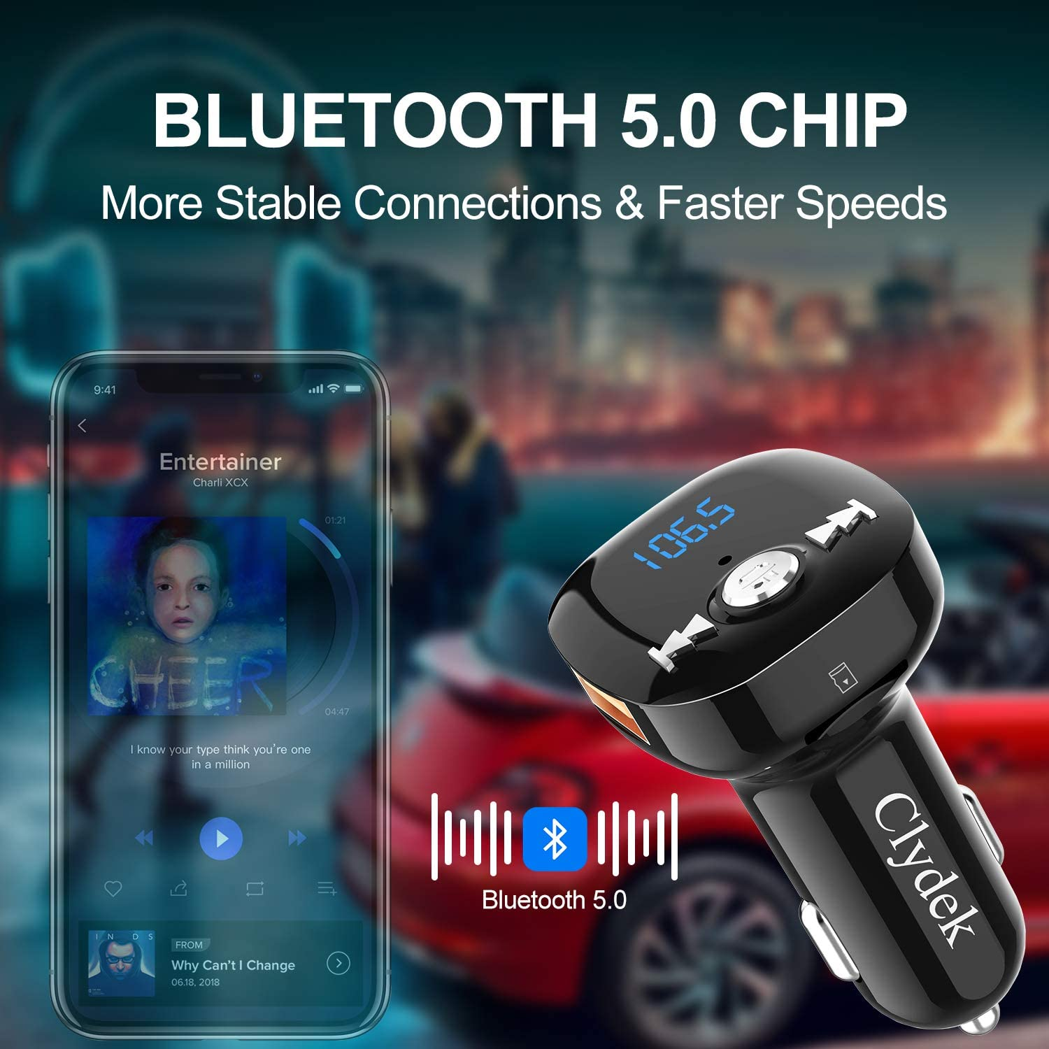 Bluetooth FM Transmitter for Car Dual USB /& QC3.0 Fast Charging Music Player Support USB Drive /& TF Card Clydek V5.0 Bluetooth Car Adapter Wireless Radio Adapter/with Hand-Free Calling