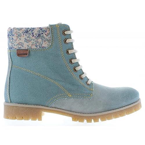 MTNG Botines de Mujer 93970 Serraje Celeste Talla 38: Amazon.es: Zapatos y complementos