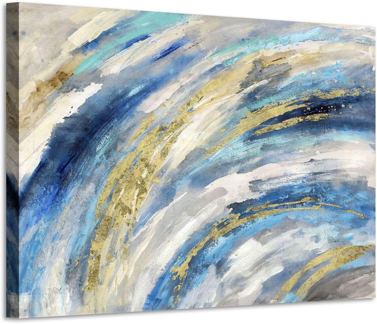 Modern Abstract Wall Art Canvas: Gold and Blue Painting Artwork Hand Painted Picture for Bedroom (36'' x 24''x 1 panel)