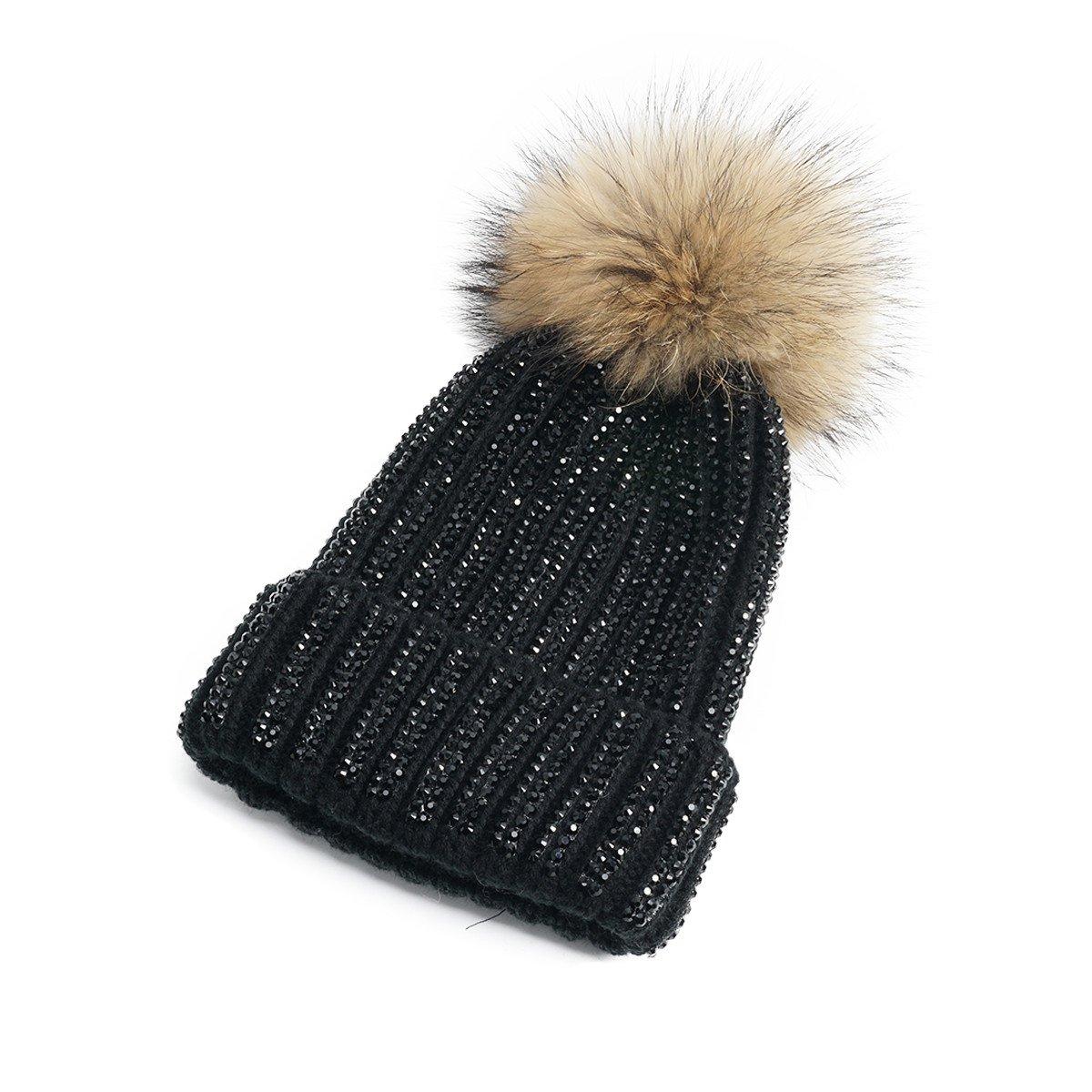 903cd159e4b Lawliet Lady Rhinestone Bling Fur Pom Pom Knit Snow Beanie Ski Hat Skull Cap  A391 (All Black) at Amazon Women s Clothing store