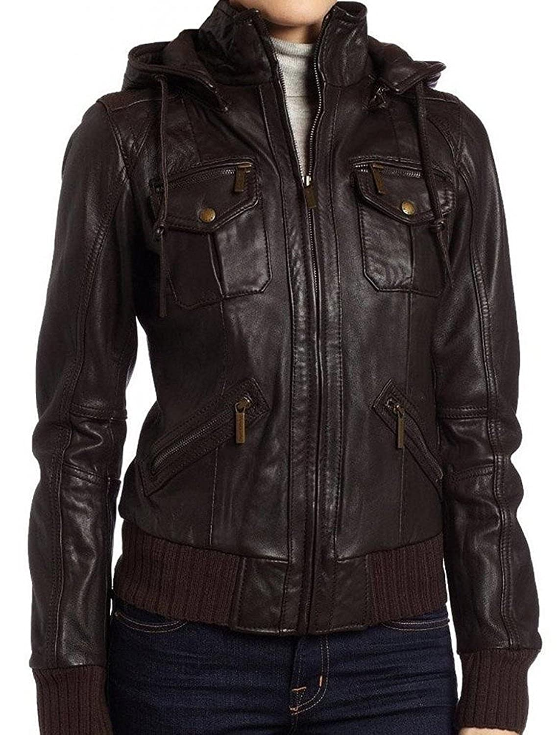 The Leather Factory Women's Lambskin Detachable Hoodie Leather Bomber Jacket 051-XS-Brown -$P