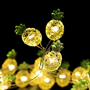 MH Tropical Theme String Lights Pineapple Decorative String Lights 18.7 Ft 40 Warm White Led USB Plug-in Silver Copper Wire Novelty Fairy Lights for Holiday Party Bedroom Wedding Nursery Decorations