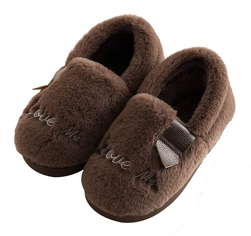 Cattior Bows Fleece Warm Cute Slippers House Shoes Toddler Little Kid