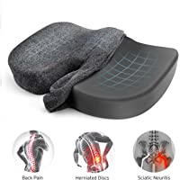 Etekcity Seat Cushion for Office Chair, Car, Memory Foam Bamboo Charcoal Ventilated, Tailbone, Lower Back, Coccyx, Sciatica Pain Relief, Designed for Truck, Desk, Wheelchair with Deluxe Cushion Cover