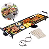 COSTWAY XL Electric Teppanyaki Table Grill, BBQ Griddle | Non-Stick Barbecue Hot Plate with Spatulas and 2 Egg Rings