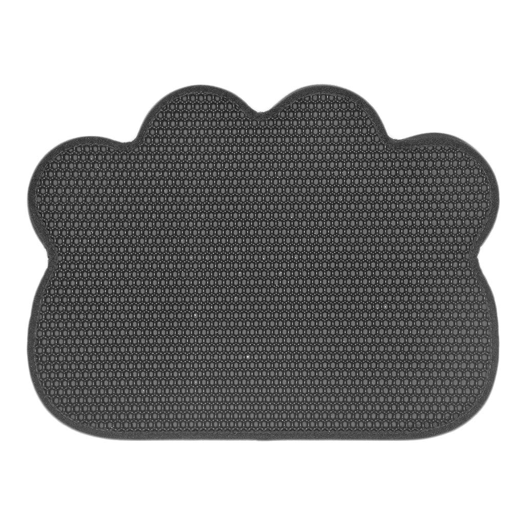 Cat Litter Mats Trapper 61.5×46cm Litter Tray Mat Double Layer Honeycomb Large Holes Waterproof EVA Soft on Paws and Washable,Black
