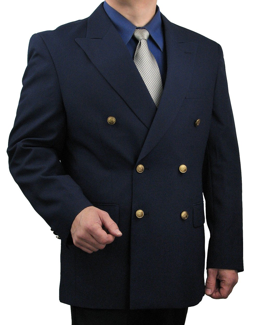Triple Blessings Men's Classic Fit Double-Breasted Blazer Jacket Sports Coat w/One Pair Of Dress Socks - Navy 46R by Triple Blessings (Image #4)