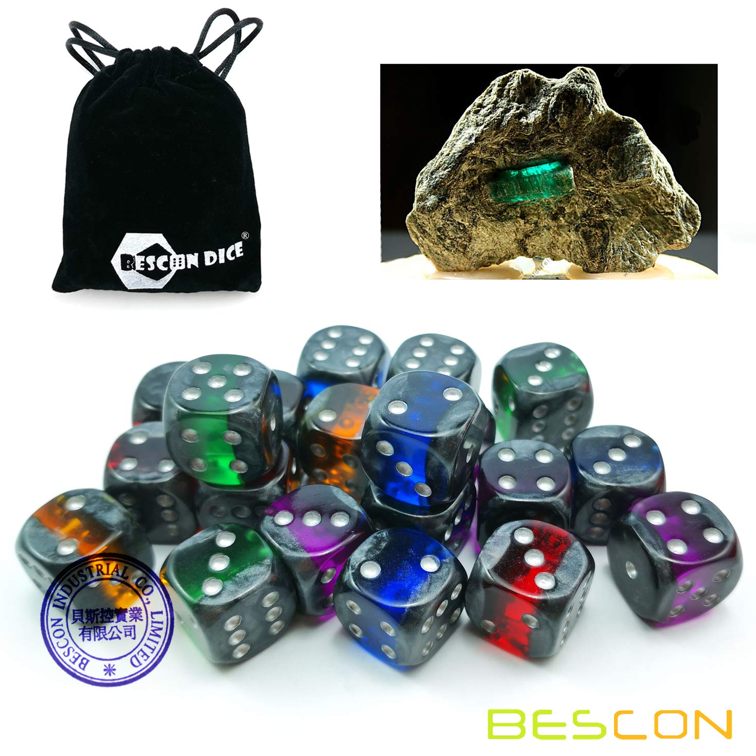 Bescon Mineral Rocks GEM Vines 6 Sides 16MM Dice Set 20 Pack, 5/8