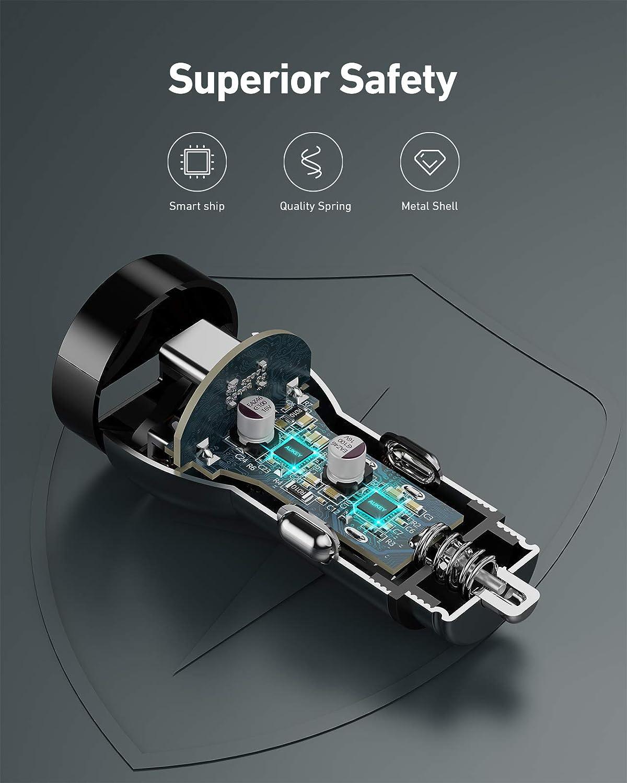 AUKEY Caricabatteria da auto 48W Accendisigari USB C con PD/&QC 3.0 in metallo Caricatore auto compatibile con iPhone 12//Pro Max //Mini // iPhone 11 Pro //Pro Max //SE //XR //XS //X //8P Pixel LG Samsung