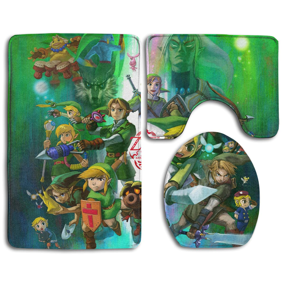 POOPEDD The Legend of Zelda Flannel Bathroom Rug Set,Bath Mat,Shower Mat and Toilet Cover,Non Slip and Extra Soft Toilet Kit,Anti Slippery Rug,3 Piece