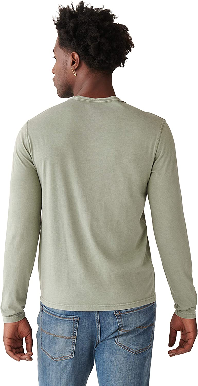 Lucky Brand Mens Long Sleeve Mineral Wash Button Notch Neck Tee Shirt T-Shirt
