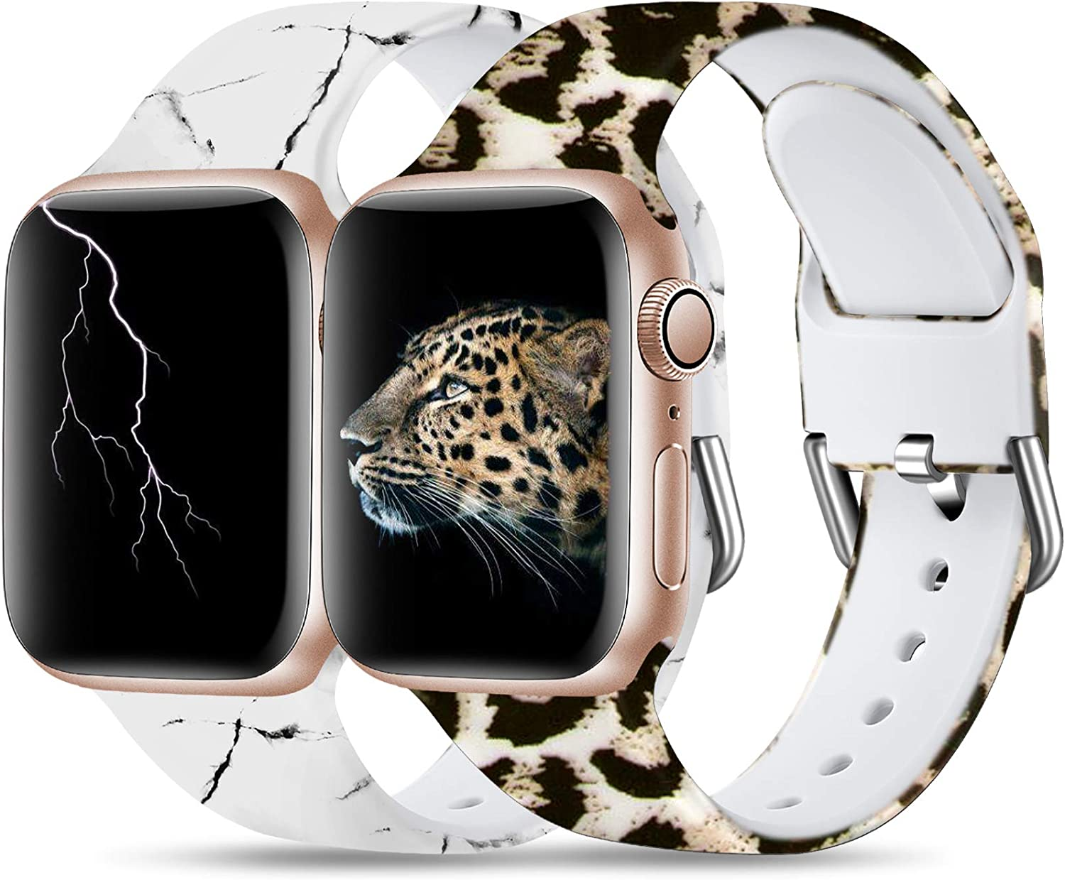 Dirrelo 2-Pack Bands Compatible for Apple Watch 40mm 38mm Soft Silicone Pattern Printed Band Strap for iWatch SE & Series 6 & Series 5 4 3 2 1 Women Wristband, S/M Marble & Leopard
