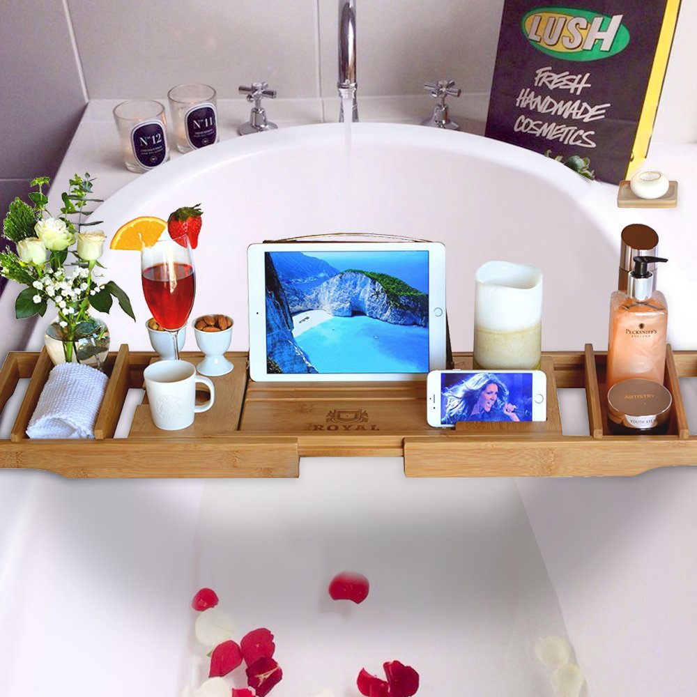 Luxury Bathtub Caddy Tray with Free Soap Holder