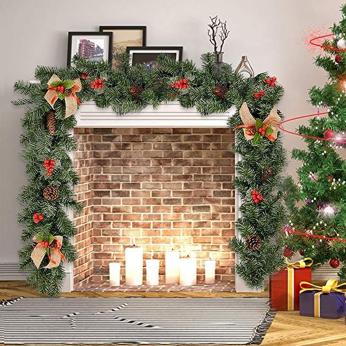 BOTTLEWISE Guirnaldas Navideñas para Chimeneas Escaleras Decoración de Navidad Artificial (A): Amazon.es: Hogar