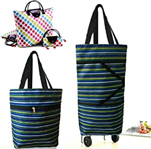 Cocobuy 2 Packs Shopping Bags Grocery Bag Foldable Shopping Bag with Wheels Shopping Tote Bag for Groceries(B0829SWD3R)