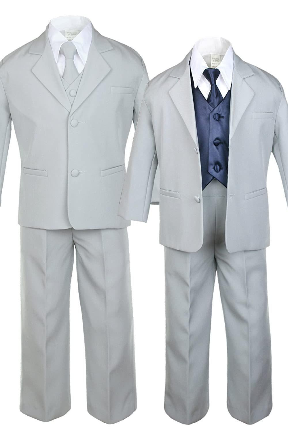 Unotux 7pc Boys Silver Suit with Satin Navy Vest Set from Baby to Teen