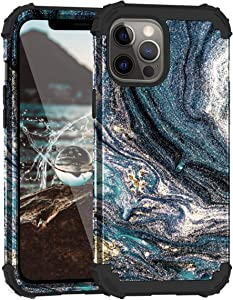 Casewind Case Compatible with iPhone 12 Pro Max 3 in 1 Dual Layer Hard PC & Soft Silicone Hybrid Shockproof Rugged Bumper Impact Full Body Protective Cover iPhone 12 Pro Max 5G Case 2020,(Nebula,Blue)