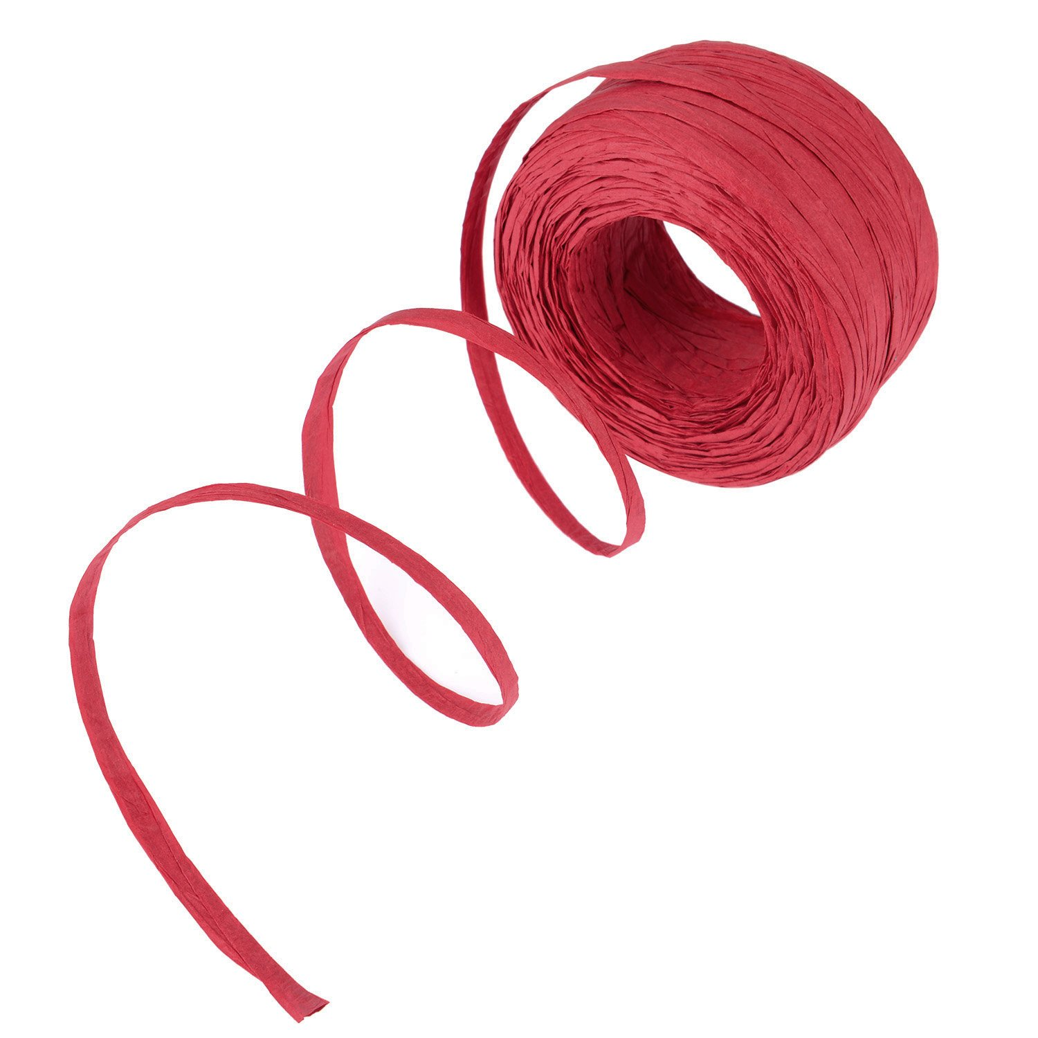 Shappy Paper Craft Ribbon Raffia Roll, 1/ 4 Inch by 100 Yards, Red