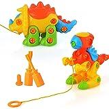 PovKeever assembler et démonter dinosaures jouet démontable tirer le long de bricolage éducatif animal puzzle jouets jeux de construction de construction pour les enfants de plus de 3 ans, lot de 2 (couleur aléatoire)