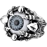Men's Vintage Gothic Biker Dragon Claw Evil Devil Eye Skull Stainless Steel Ring Grey White Black Silver