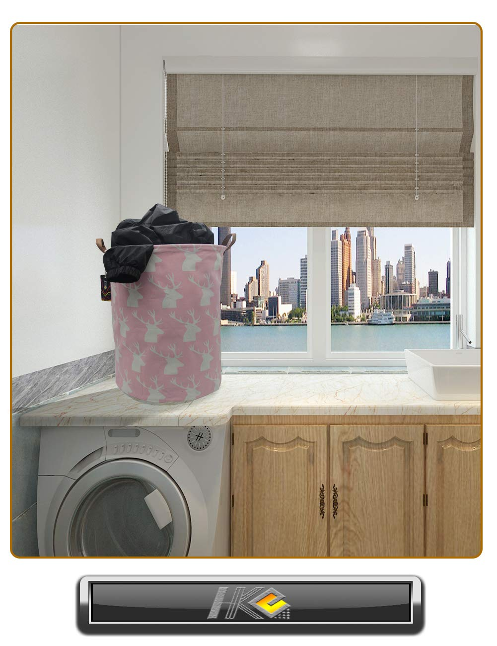 Gray Triangle Bedroom HKEC 19.7/'/' Waterproof Foldable Storage Bin Dirty Clothes Laundry Basket Baby Hamper Gift Baskets Canvas Organizer Basket for Laundry Hamper Toy Bins Clothes