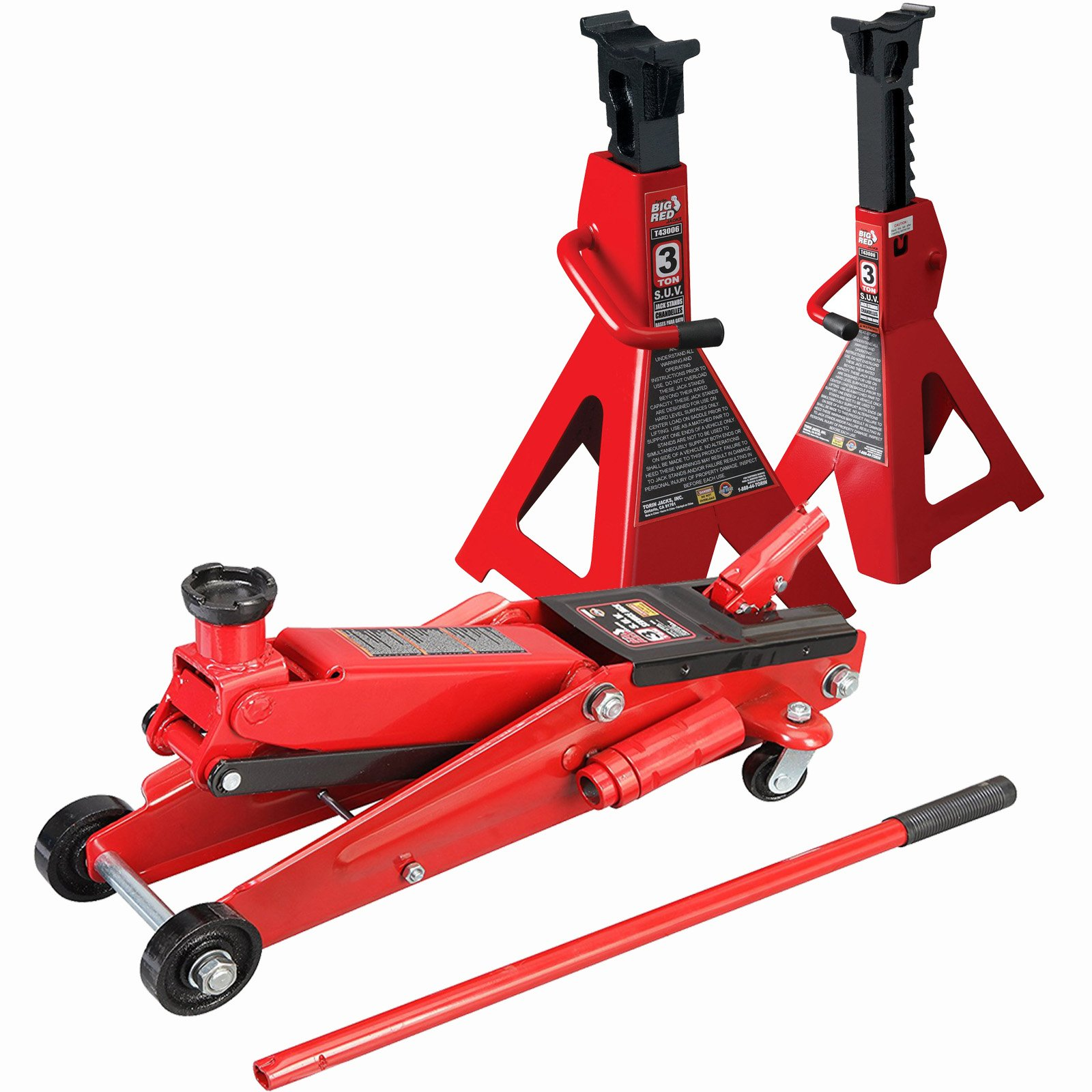 SUV 3 Ton Floor Jack With 3 Ton Jack Stands Heavy Duty Set Large SUV Truck Lift Torin Brand by Torin