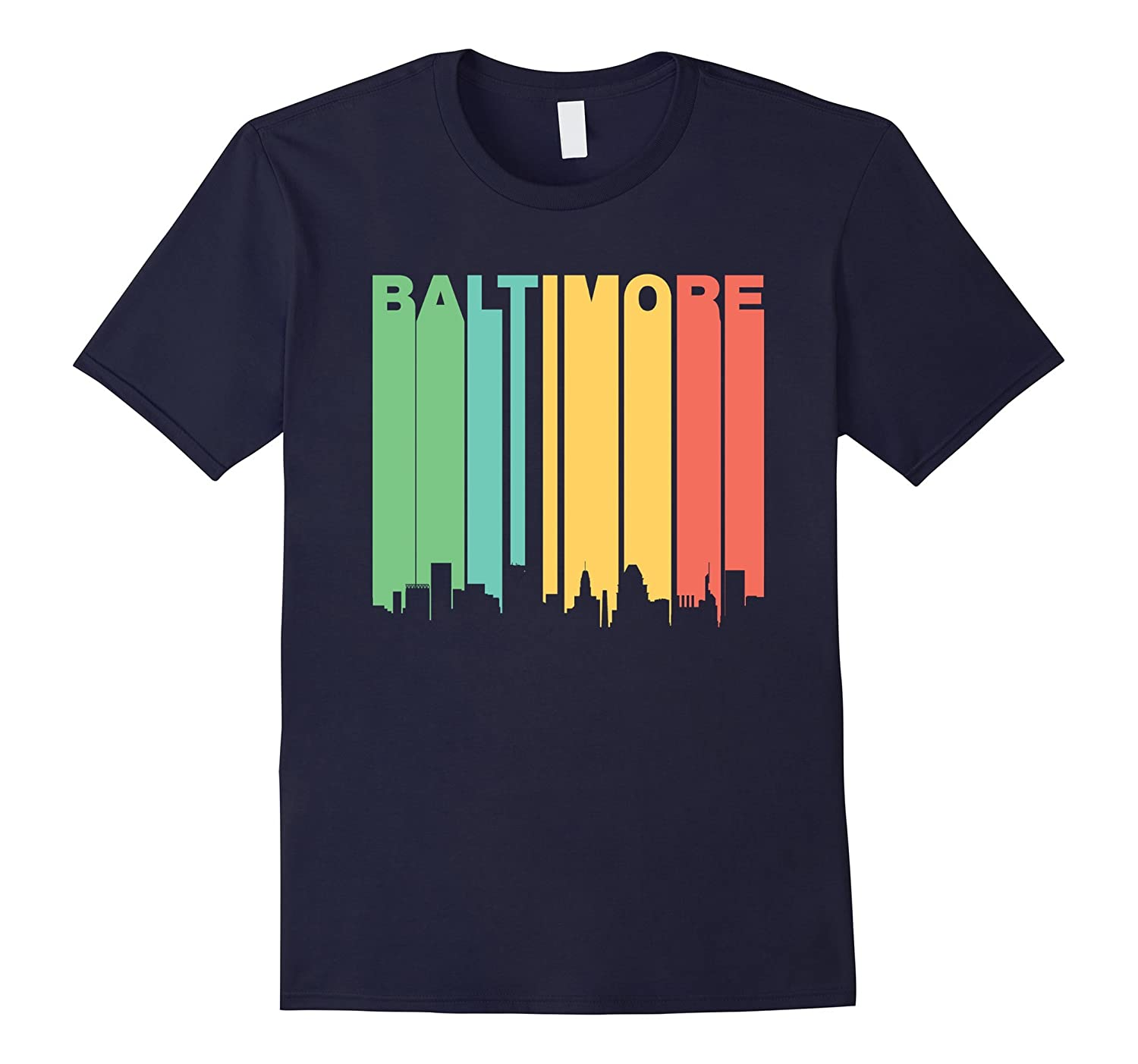 Retro 1970s Baltimore Maryland Downtown Skyline T-Shirt-RT