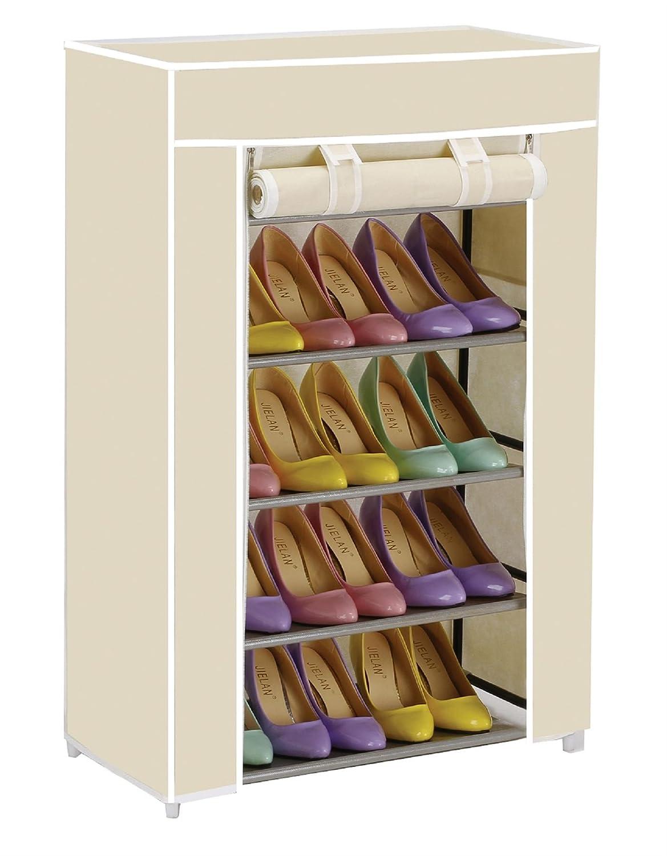 Vinsani 5 Tier Canvas Shoe Rack Standing Storage Organiser Rack:  Amazon.co.uk: Kitchen U0026 Home