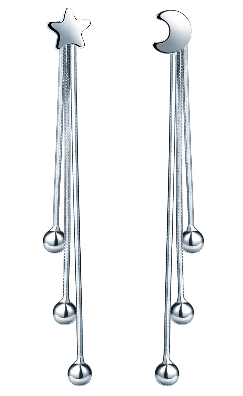 7fbd3ee25 Amazon.com: Infinite U Women's 925 Sterling Silver Moon and Star Stud Beads  Tassels Drop Ear Jackets DIY Earrings: Jewelry