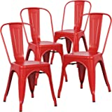 Poly and Bark Tolix Style Bistro A Dining Side Chair (Set of 4), Red