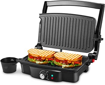 ISILER Panini Maker 4 Slice Panini Press Grill