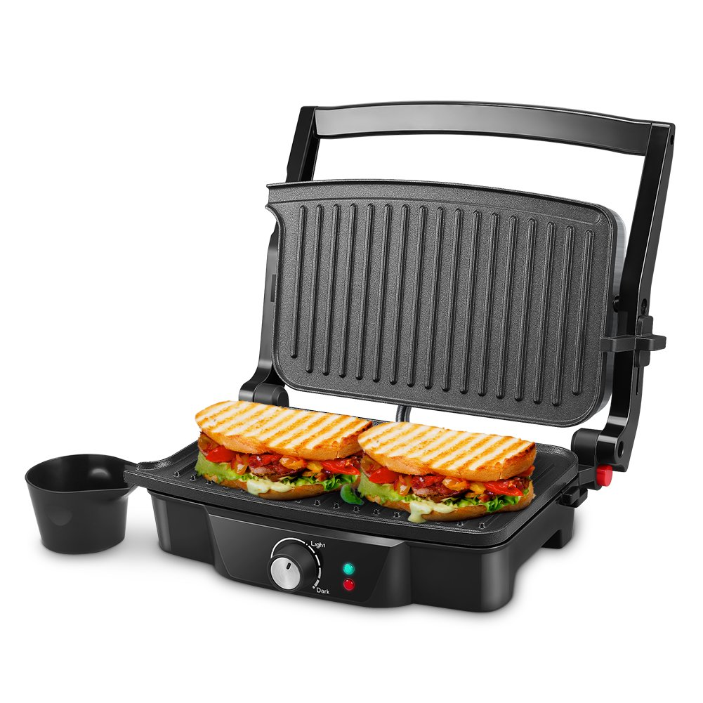 Panini Maker, iSiLER 4 Slice Panini Press Grill, Sandwich Maker with 2 Removable Drip Cups, Non-Stick Coated Plates, Opens 180 Degrees for Panini, Grilled Burgers, Steaks, Bacon by ISILER