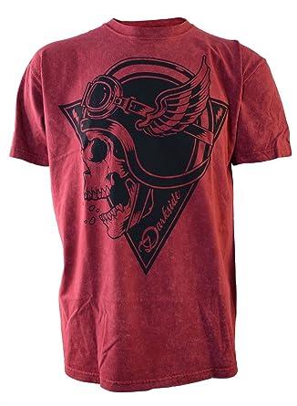 3f901e432 Darkside Crash Helmet Skull Genuine Red Acid Wash T Shirt X Large: Amazon.co .uk: Clothing