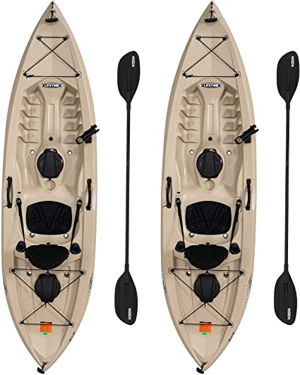 Amazon Com Lifetime 90806 Tamarack Angler 100 Fishing Kayak 2 Pack Paddles Included Sports Outdoors