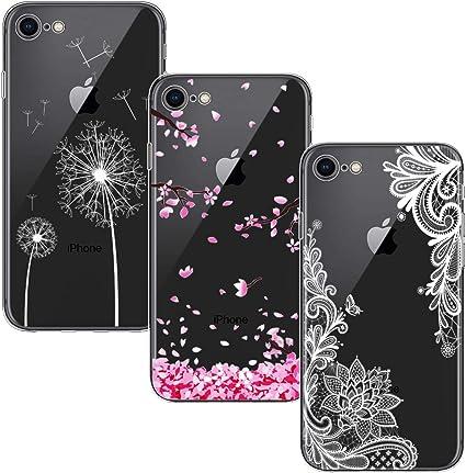 Yoowei [3-Pack] Cover Compatibile con iPhone SE 2020 e iPhone 8 e iPhone 7 Trasparente Morbida TPU Silicone Ultra Sottile Protezione a 360 Gradi ...