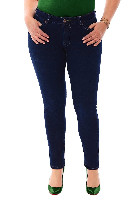 360 Stretch Mid Rise Ultra Skinny Denim Jeans (Jeggings) in Blue Depths