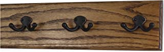 "product image for Oak Wall Mounted Coat Rack with Aged Bronze Dual Style Hooks 4.5"" Ultra Wide (Walnut, 15"" x 4.5"" with 3 Hooks)"