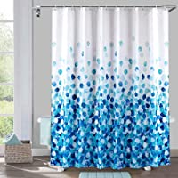 Yougai Shower Curtain for Bathroom with 12 Hooks, Polyester Fabric Machine Washable Waterproof Shower Curtains 72 x 72 Inch(Blue Petal)
