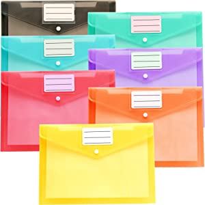 Youngever 21 Pack Plastic Envelopes Poly Envelopes, Clear Document Folders, US Letter A4 Size File Envelopes with Label Pocket Snap Button, for School Home Work Office Organization, 7 Assorted Colors