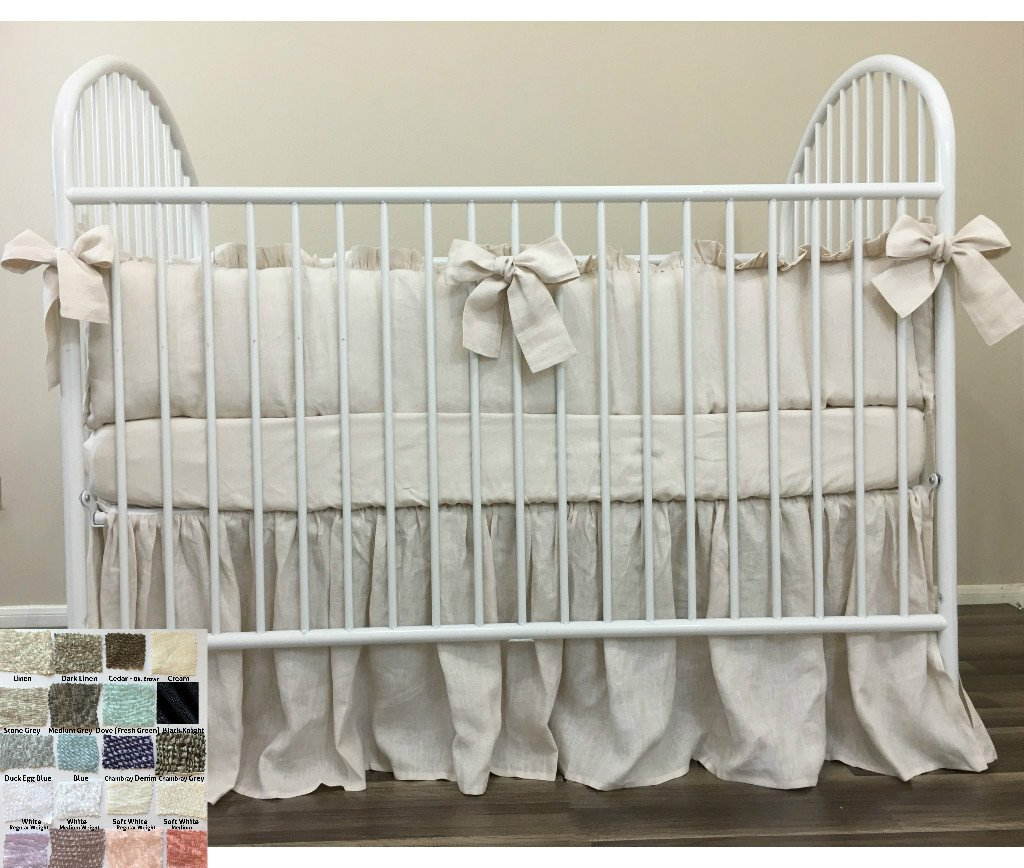 Natural Linen baby Beddings with Bow Ties, multiple color choices. Top Notch Quality. , FREE SHIPPING