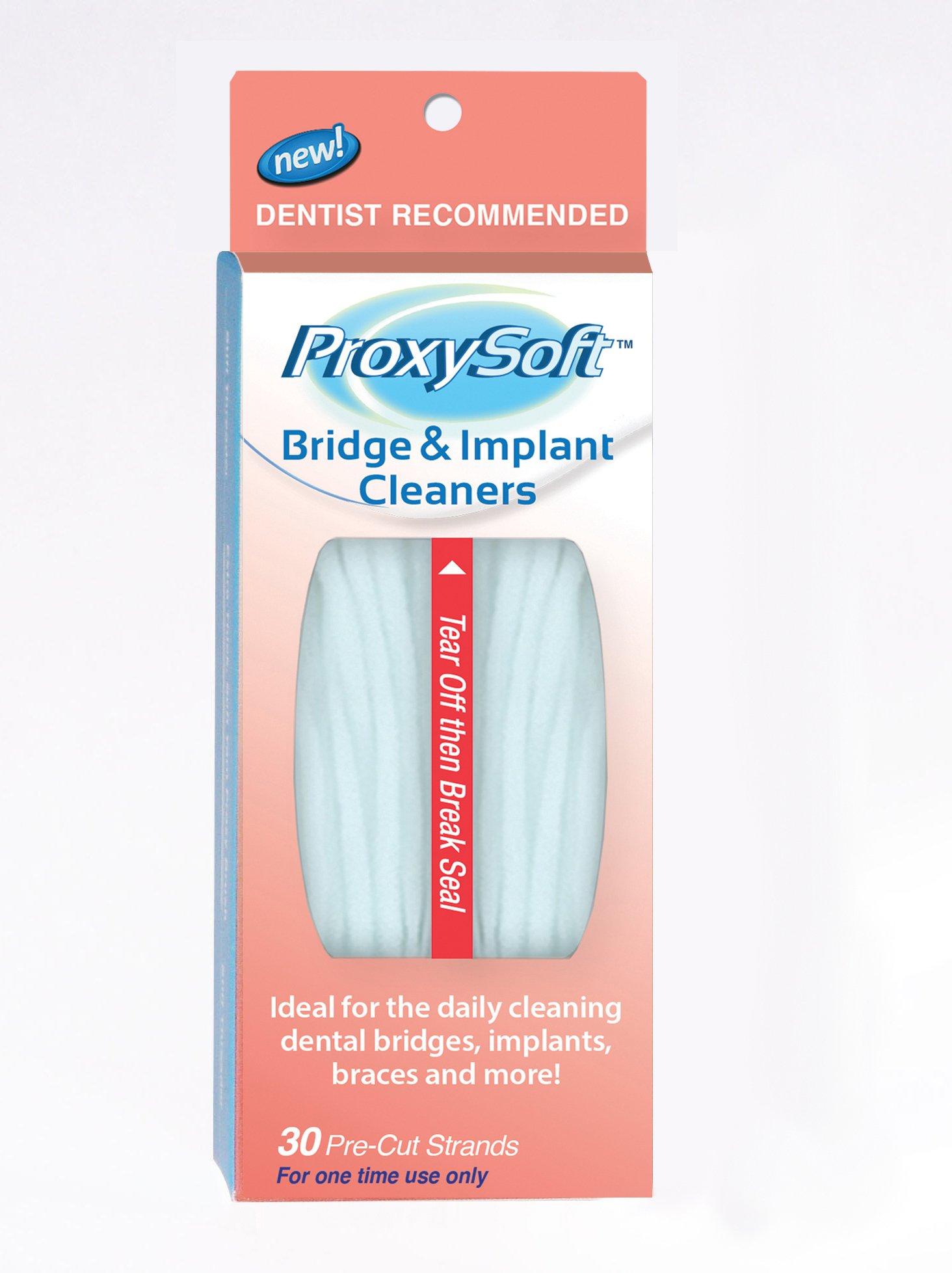 Dental Floss for Bridges and Implants, 20 Packs - Implant Floss Threaders for Bridges with Extra-Thick Proxy Brush for Optimal Oral Hygiene - Bridge and Implant Cleaners by ProxySoft by Proxysoft