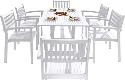 Amazon Com Vifah Bradley Outdoor Patio Wood 7 Piece Dining Set With Stacking Chairs Garden Outdoor