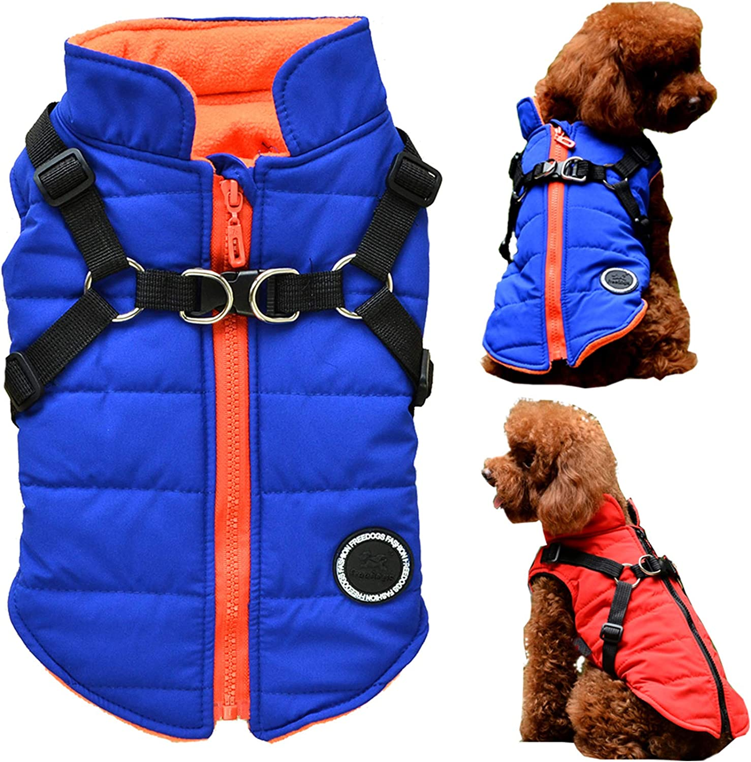 2XL Maysunday Dog Winter Warm Jacket Puppy Vest with Harness Pet Fleece Lined Outfit Cold Weather Coat Back Length:15.75 2XL , Blue
