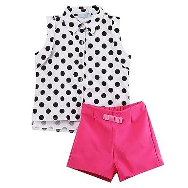 abfbf680d 2pcs Kids Girl Outfits Clothes Set Polka Dot Top T-shirt + Bowknot Pants  Shorts