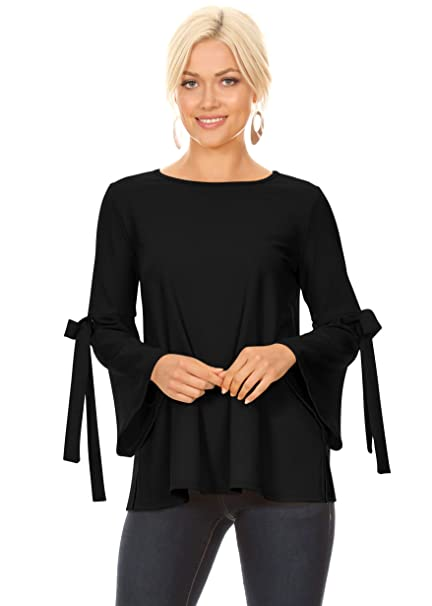 86999d226c197b Cute Black Tops for Women Dressy Black Work Shirts Flowy Blouses (Size  Small US 2