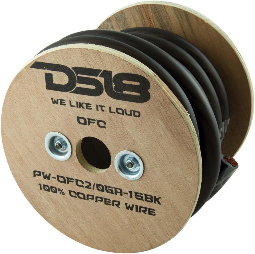 DS18 PW-OFC2/0GA-15BK True 2/0-Gauge Ultra Flex OFC Oxygen Free Copper Ground Power Cable, 15' (Black)