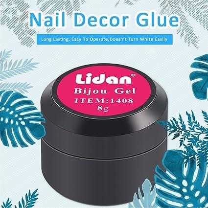 Ruier-hui, Pegamento de Uñas Pegamento para Pedrería en Uñas 8G Nail Glue Pegamento de Gel UV para Uñas Gel Adhesivo para Decoración de Uñas