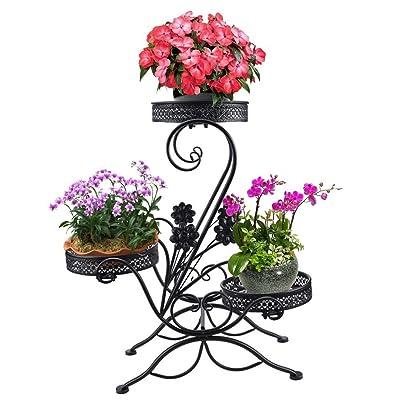 "AISHN 3-Tiered Scroll Classic Plant Stand Decorative Metal Garden Patio Standing Plant Flower Pot Rack Display Shelf Holds 3-Flower Pot with Modern""S"" Design (Black) : Garden & Outdoor"