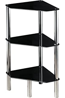 Premier Housewares 3 Tier Half Round Shelf Unit With Black Glass Shelves  And Chrome Frame
